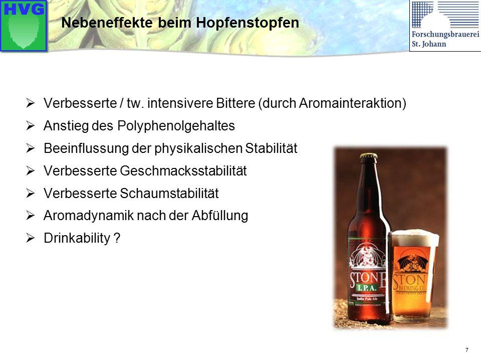 7 Nebeneffekte beim Hopfenstopfen  Verbesserte / tw. intensivere Bittere (durch Aromainteraktion)  Anstieg des Polyphenolgehaltes  Beeinflussung de