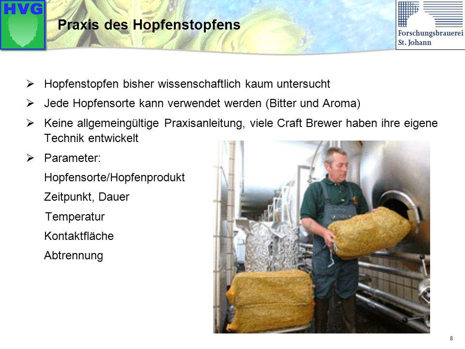 Doldenhopfen  (in Säcken, Tee-Beutel, Lose, vermahlen,  Hopfenseiher), während der Reifung, in den Lagertank, ins Fass  evtl.