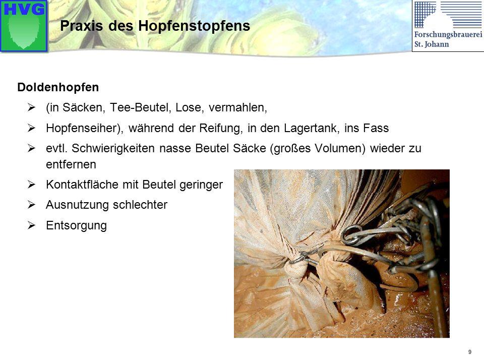 20 Bier mit Quelle: Diplomarbeit Gaisbacher (TUM-Weihenstephan 2011) Aromastoffe beim Hopfenstopfen
