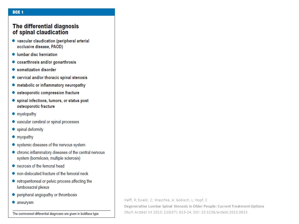 Kalff, R; Ewald, C; Waschke, A; Gobisch, L; Hopf, C Degenerative Lumbar Spinal Stenosis in Older People: Current Treatment Options Dtsch Arztebl Int 2013; 110(37): 613-24; DOI: 10.3238/arztebl.2013.0613