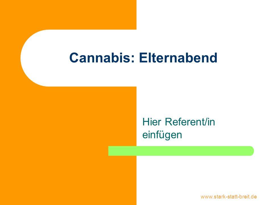 www.stark-statt-breit.de Cannabis: Inhalt Elternabend Pflanze und Droge Konsumformen Wirkungsweise Risiken Abhängigkeit Rechtslage Gespräch über Cannabis Konsum erkennen Reaktion auf Konsum