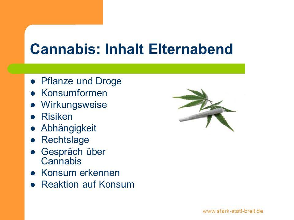 www.stark-statt-breit.de Cannabis: Inhalt Elternabend Pflanze und Droge Konsumformen Wirkungsweise Risiken Abhängigkeit Rechtslage Gespräch über Canna