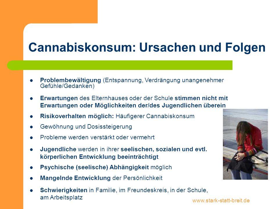 www.stark-statt-breit.de Cannabiskonsum: Abhängigkeit Ungefähr 500.000 Menschen zwischen 18 und 64 Jahren konsumieren Cannabis in einer problematischen oder abhängigen Weise (DHS Jahrbuch Sucht 2013).