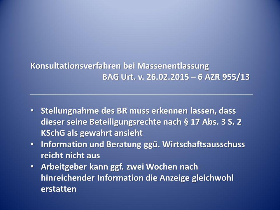 Konsultationsverfahren bei Massenentlassung BAG Urt.
