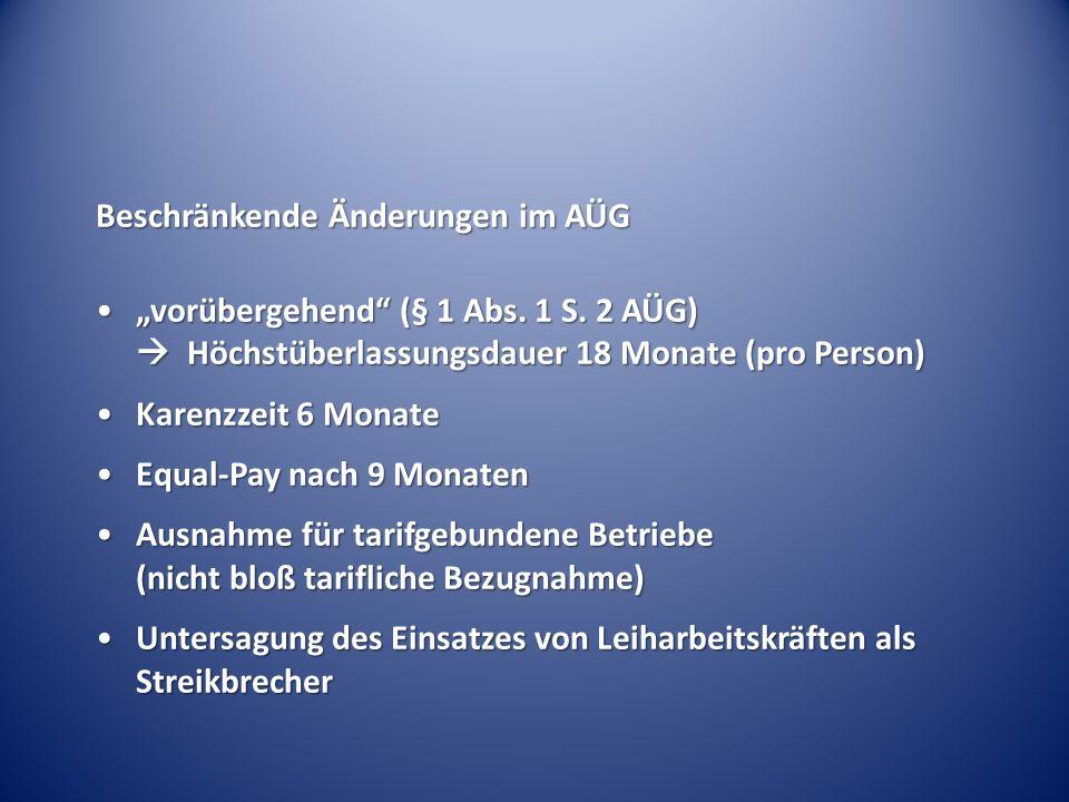"""Beschränkende Änderungen im AÜG """"vorübergehend (§ 1 Abs."""