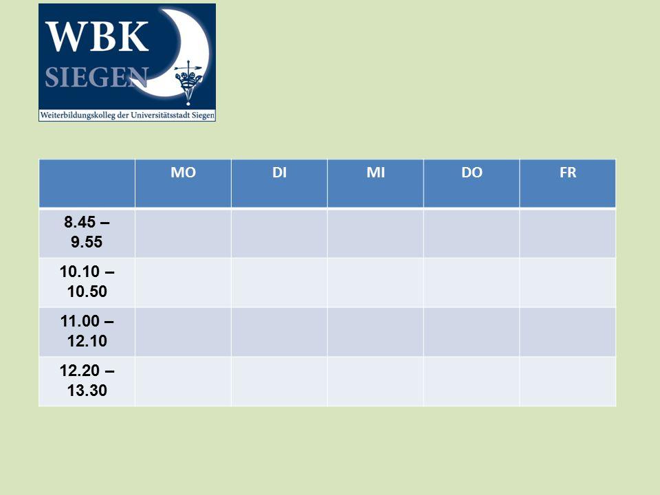MODIMIDOFR 8.45 – 9.55 10.10 – 10.50 11.00 – 12.10 12.20 – 13.30