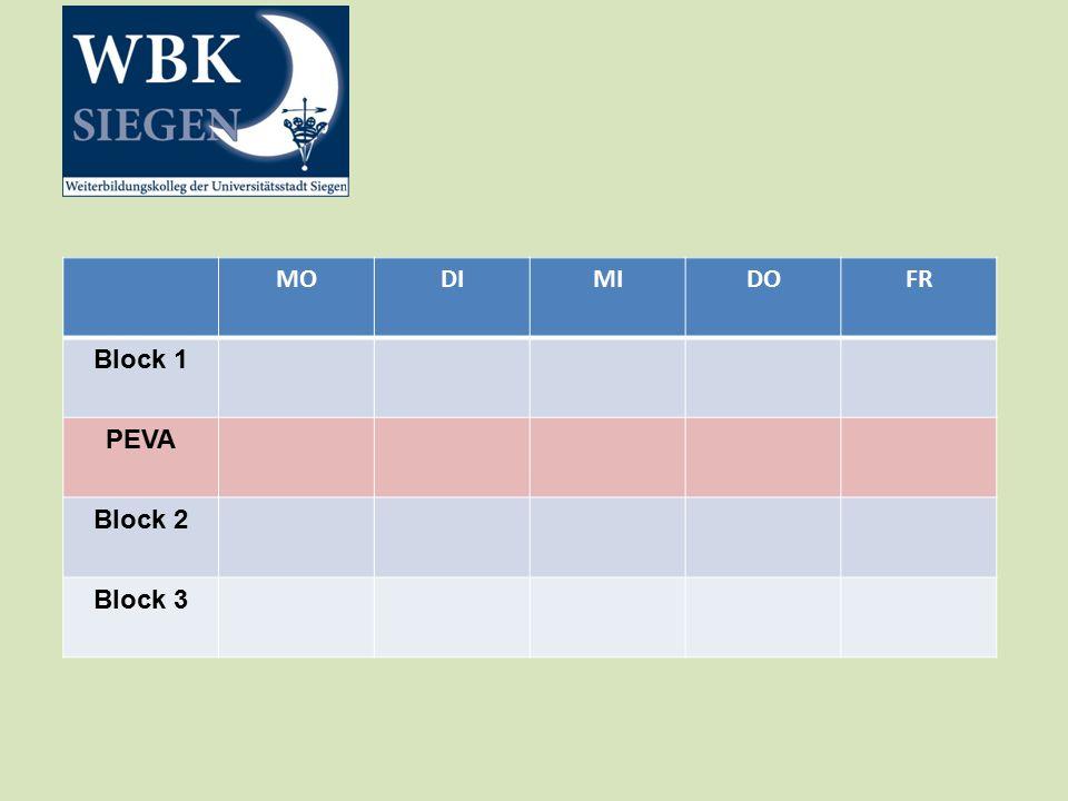 MODIMIDOFR Block 1 PEVA Block 2 Block 3