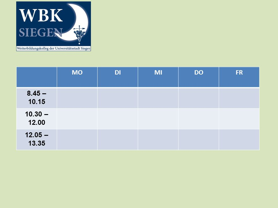 MODIMIDOFR 8.45 – 10.15 10.30 – 12.00 12.05 – 13.35