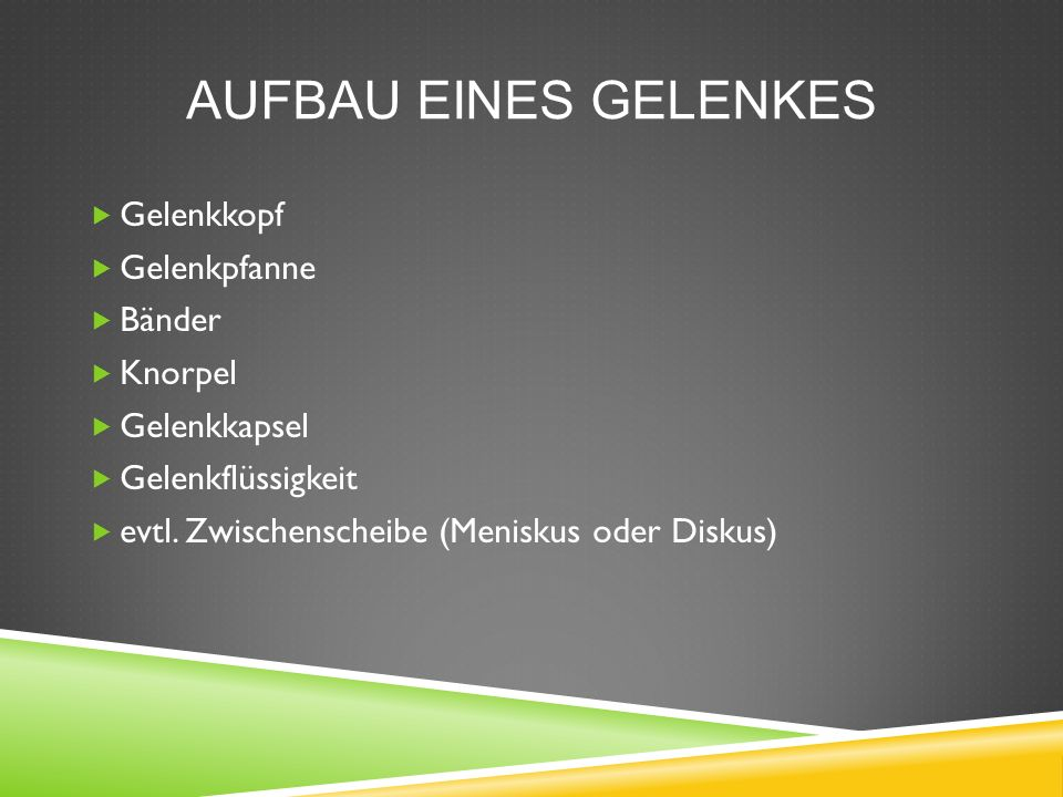 AUFBAU EINES GELENKES  Gelenkkopf  Gelenkpfanne  Bänder  Knorpel  Gelenkkapsel  Gelenkflüssigkeit  evtl. Zwischenscheibe (Meniskus oder Diskus)