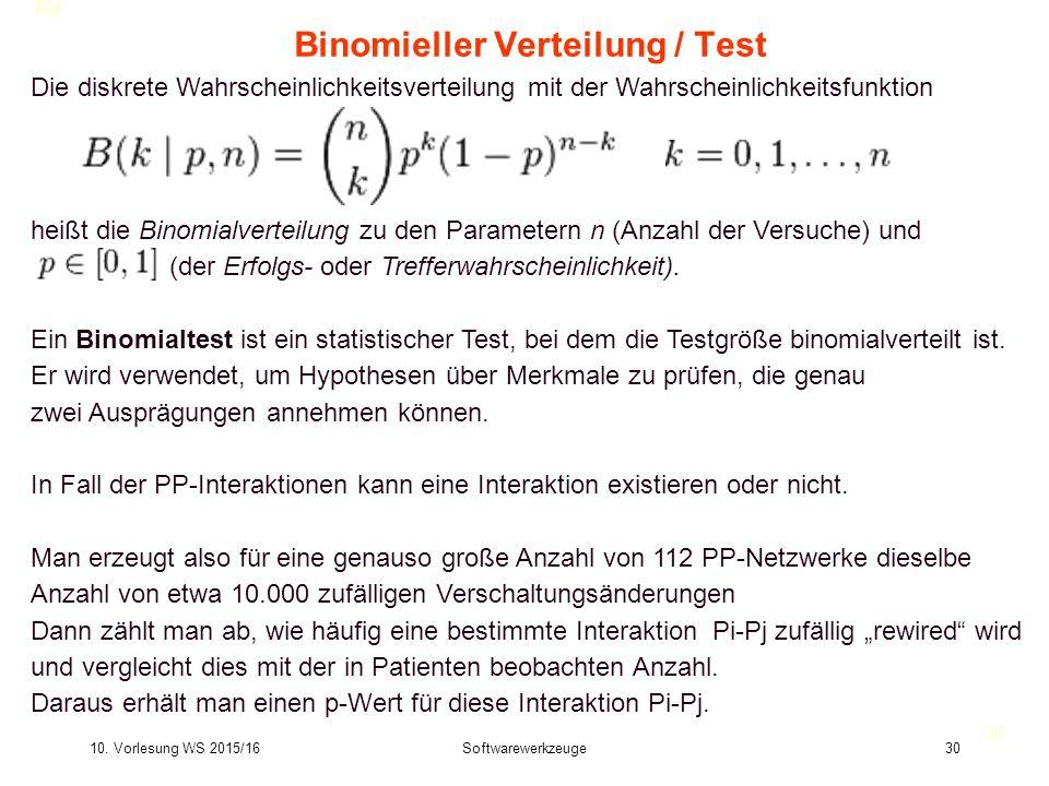 10. Vorlesung WS 2015/16Softwarewerkzeuge30 Binomieller Verteilung / Test 30 Die diskrete Wahrscheinlichkeitsverteilung mit der Wahrscheinlichkeitsfun
