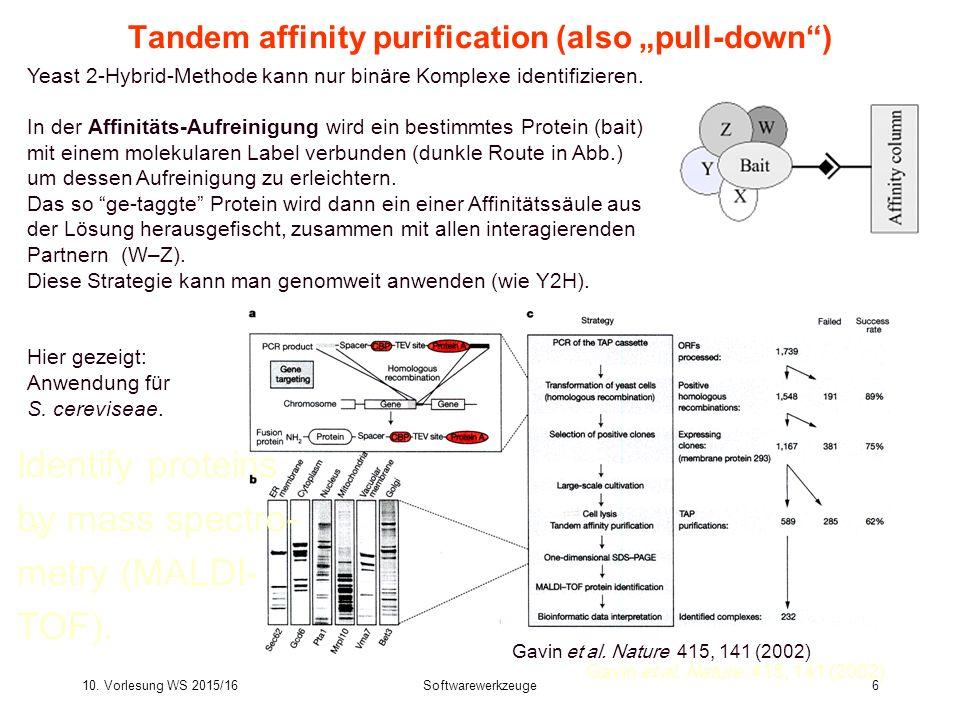 """10. Vorlesung WS 2015/16Softwarewerkzeuge6 Tandem affinity purification (also """"pull-down"""") Yeast 2-Hybrid-Methode kann nur binäre Komplexe identifizie"""