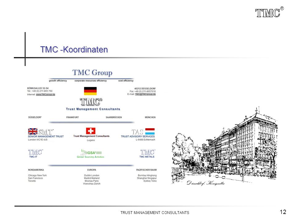 ® TRUST MANAGEMENT CONSULTANTS 12 TMC -Koordinaten