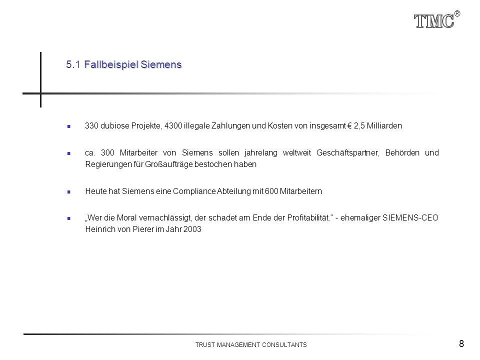 ® TRUST MANAGEMENT CONSULTANTS 8 330 dubiose Projekte, 4300 illegale Zahlungen und Kosten von insgesamt € 2,5 Milliarden ca. 300 Mitarbeiter von Sieme