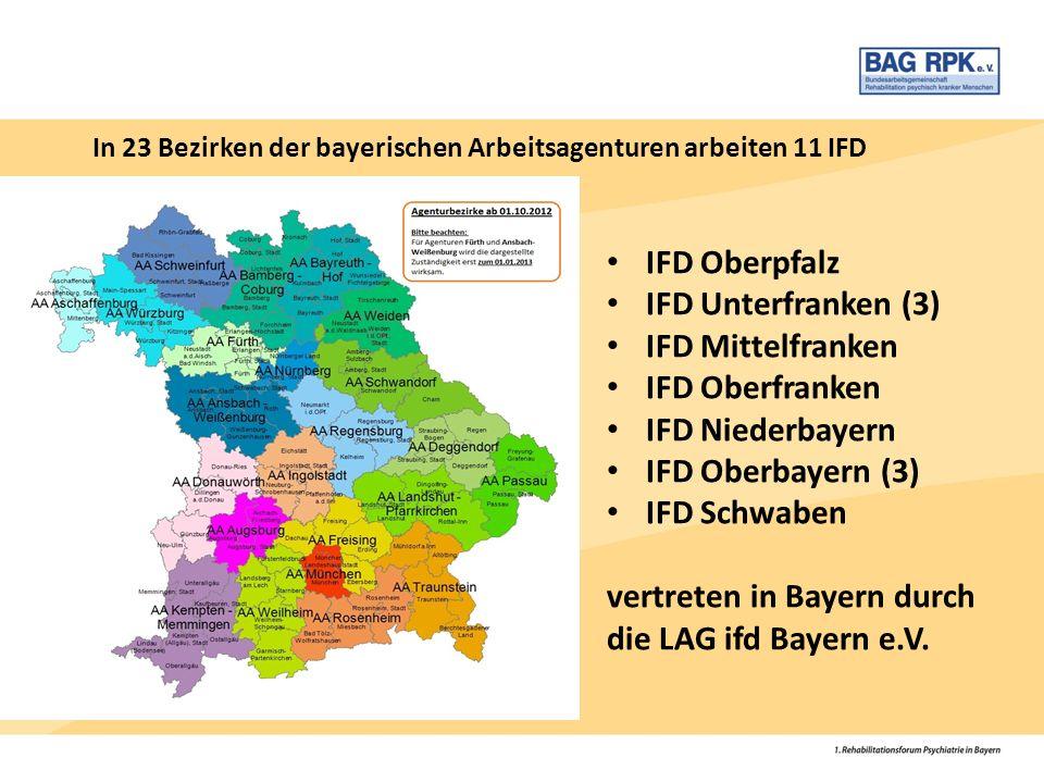 IFD Oberpfalz IFD Unterfranken (3) IFD Mittelfranken IFD Oberfranken IFD Niederbayern IFD Oberbayern (3) IFD Schwaben vertreten in Bayern durch die LA
