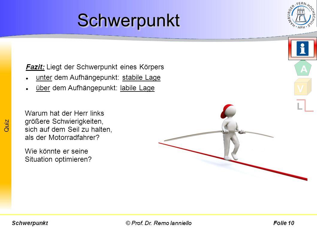 Quiz Fazit: Liegt der Schwerpunkt eines Körpers unter dem Aufhängepunkt: stabile Lage über dem Aufhängepunkt: labile Lage © Prof. Dr. Remo IannielloSc