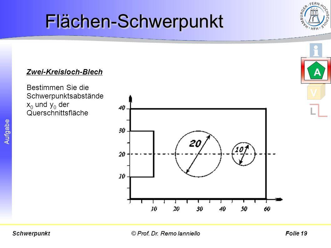 Aufgabe Bestimmen Sie die Schwerpunktsabstände x 0 und y 0 der Querschnittsfläche © Prof. Dr. Remo IannielloSchwerpunktFolie 19 Flächen-SchwerpunktFlä