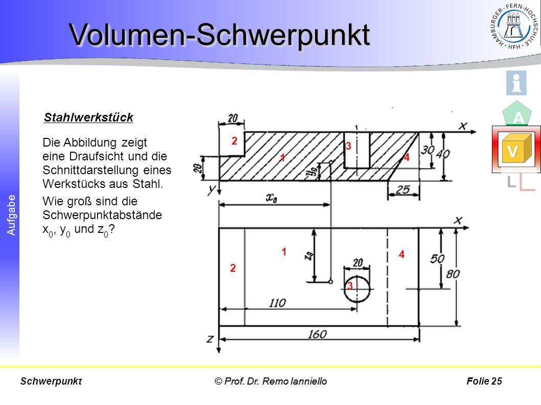 Aufgabe Die Abbildung zeigt eine Draufsicht und die Schnittdarstellung eines Werkstücks aus Stahl. Wie groß sind die Schwerpunktabstände x 0, y 0 und