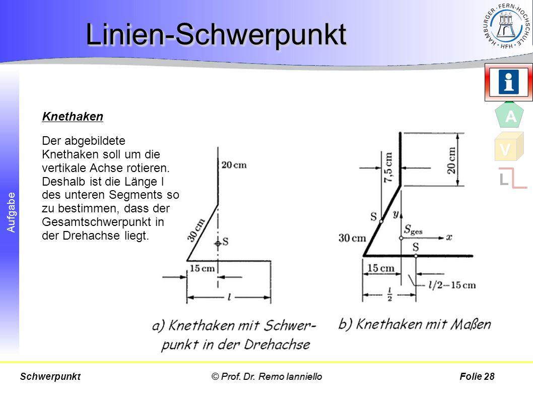 Aufgabe Der abgebildete Knethaken soll um die vertikale Achse rotieren. Deshalb ist die Länge l des unteren Segments so zu bestimmen, dass der Gesamts