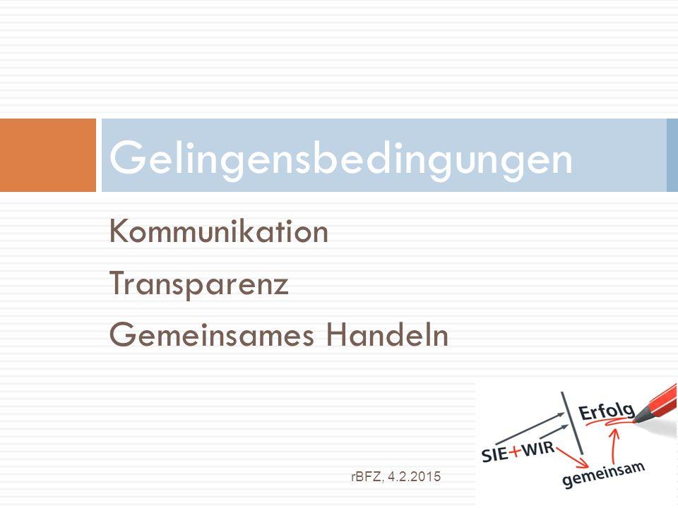 Kommunikation Transparenz Gemeinsames Handeln Gelingensbedingungen rBFZ, 4.2.2015