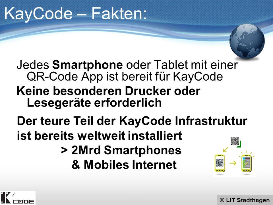 Jedes Smartphone oder Tablet mit einer QR-Code App ist bereit für KayCode Keine besonderen Drucker oder Lesegeräte erforderlich © LIT Stadthagen KayCode – Fakten: Der teure Teil der KayCode Infrastruktur ist bereits weltweit installiert > 2Mrd Smartphones & Mobiles Internet