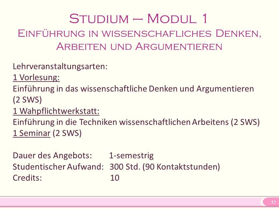 17 Studium – Modul 1 Einführung in wissenschafliches Denken, Arbeiten und Argumentieren Lehrveranstaltungsarten: 1 Vorlesung: Einführung in das wissen