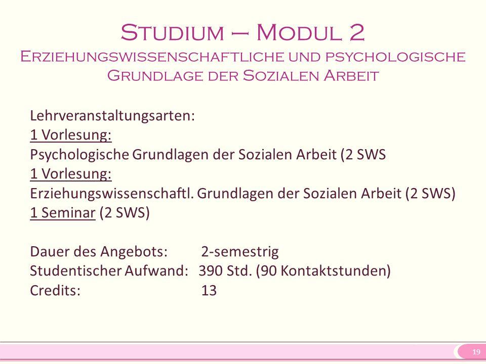 19 Lehrveranstaltungsarten: 1 Vorlesung: Psychologische Grundlagen der Sozialen Arbeit (2 SWS 1 Vorlesung: Erziehungswissenschaftl. Grundlagen der Soz