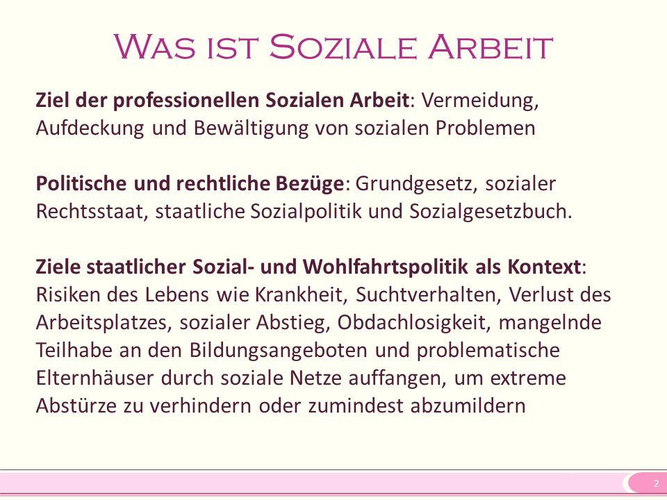 2 Was ist Soziale Arbeit Ziel der professionellen Sozialen Arbeit: Vermeidung, Aufdeckung und Bewältigung von sozialen Problemen Politische und rechtl