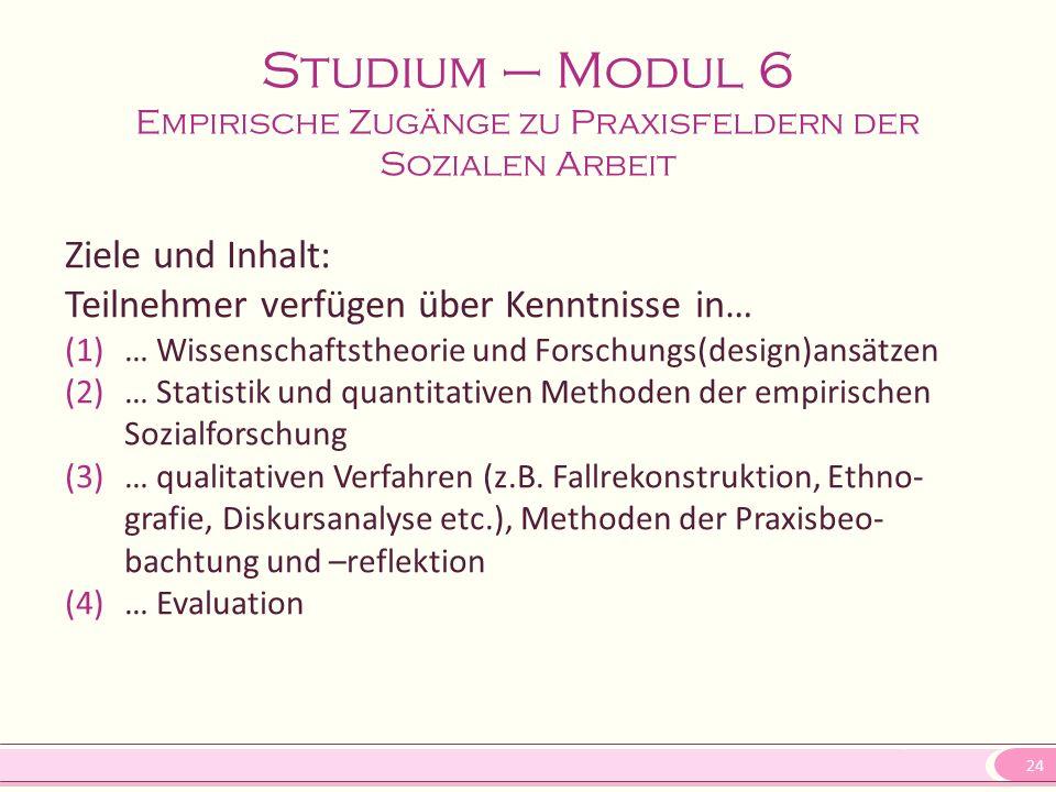 24 Studium – Modul 6 Empirische Zugänge zu Praxisfeldern der Sozialen Arbeit Ziele und Inhalt: Teilnehmer verfügen über Kenntnisse in… (1)… Wissenscha