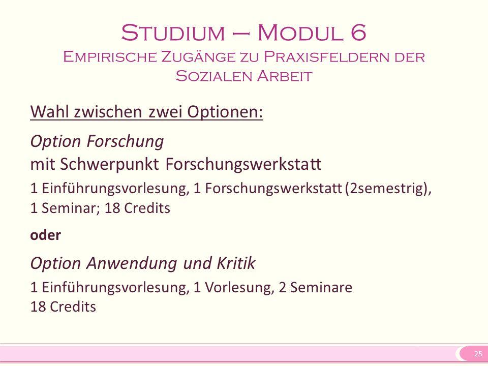 25 Studium – Modul 6 Empirische Zugänge zu Praxisfeldern der Sozialen Arbeit Wahl zwischen zwei Optionen: Option Forschung mit Schwerpunkt Forschungsw