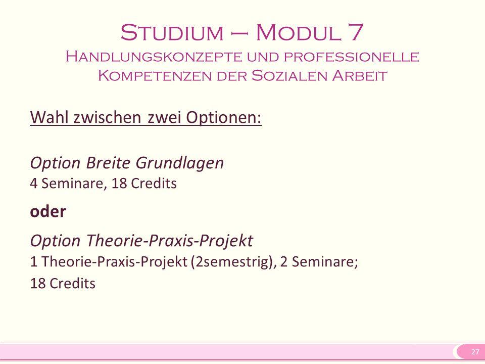27 Wahl zwischen zwei Optionen: Option Breite Grundlagen 4 Seminare, 18 Credits oder Option Theorie-Praxis-Projekt 1 Theorie-Praxis-Projekt (2semestri