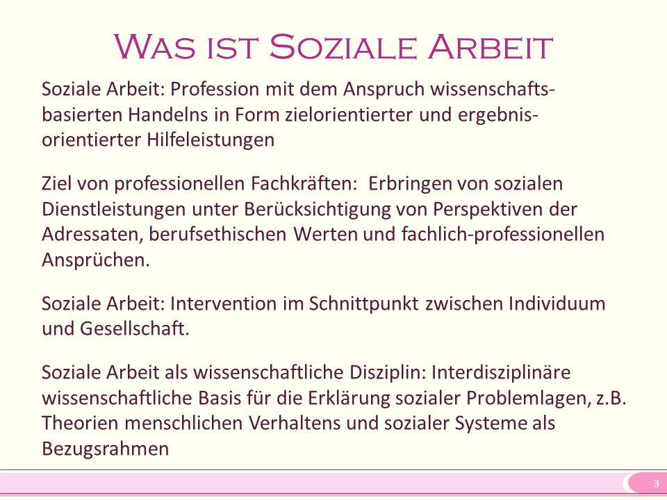 3 Was ist Soziale Arbeit Soziale Arbeit: Profession mit dem Anspruch wissenschafts- basierten Handelns in Form zielorientierter und ergebnis- orientie