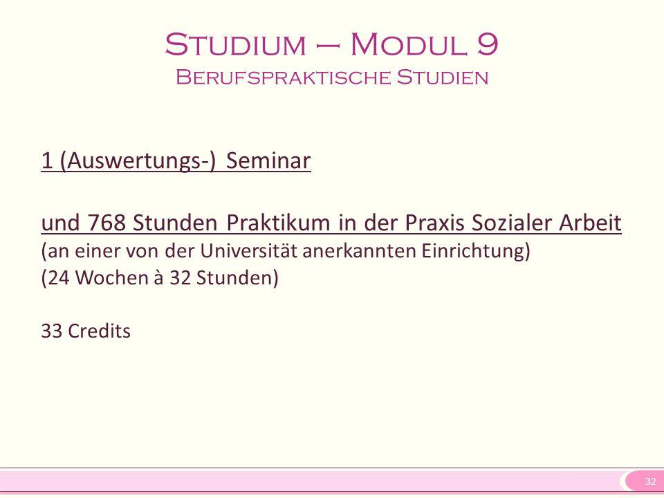 32 Studium – Modul 9 Berufspraktische Studien 1 (Auswertungs-) Seminar und 768 Stunden Praktikum in der Praxis Sozialer Arbeit (an einer von der Universität anerkannten Einrichtung) (24 Wochen à 32 Stunden) 33 Credits