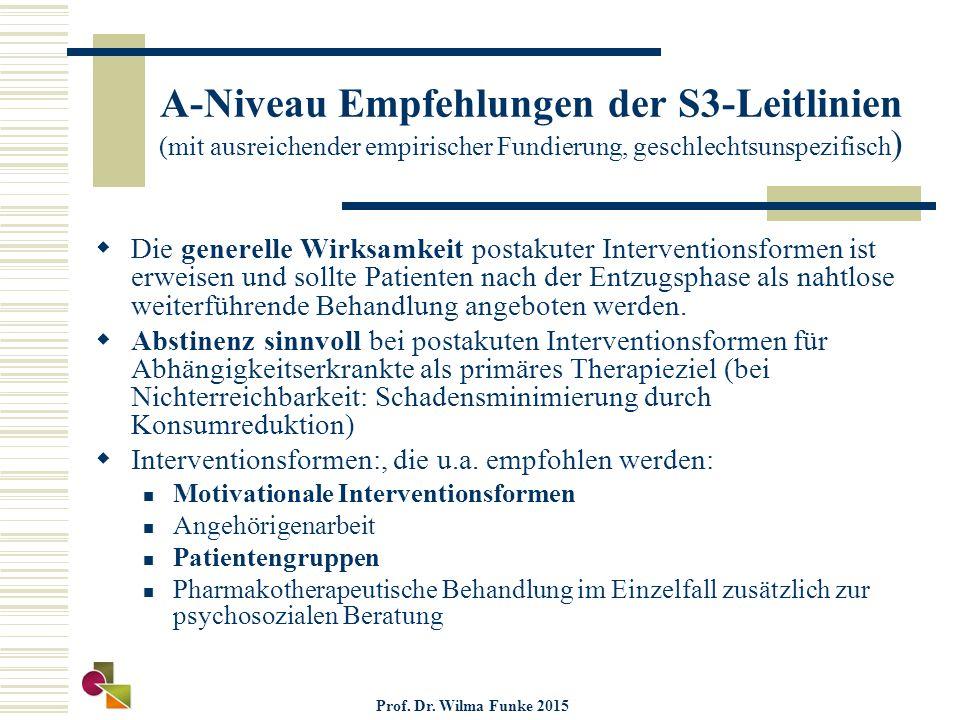 A-Niveau Empfehlungen der S3-Leitlinien (mit ausreichender empirischer Fundierung, geschlechtsunspezifisch )  Die generelle Wirksamkeit postakuter Interventionsformen ist erweisen und sollte Patienten nach der Entzugsphase als nahtlose weiterführende Behandlung angeboten werden.