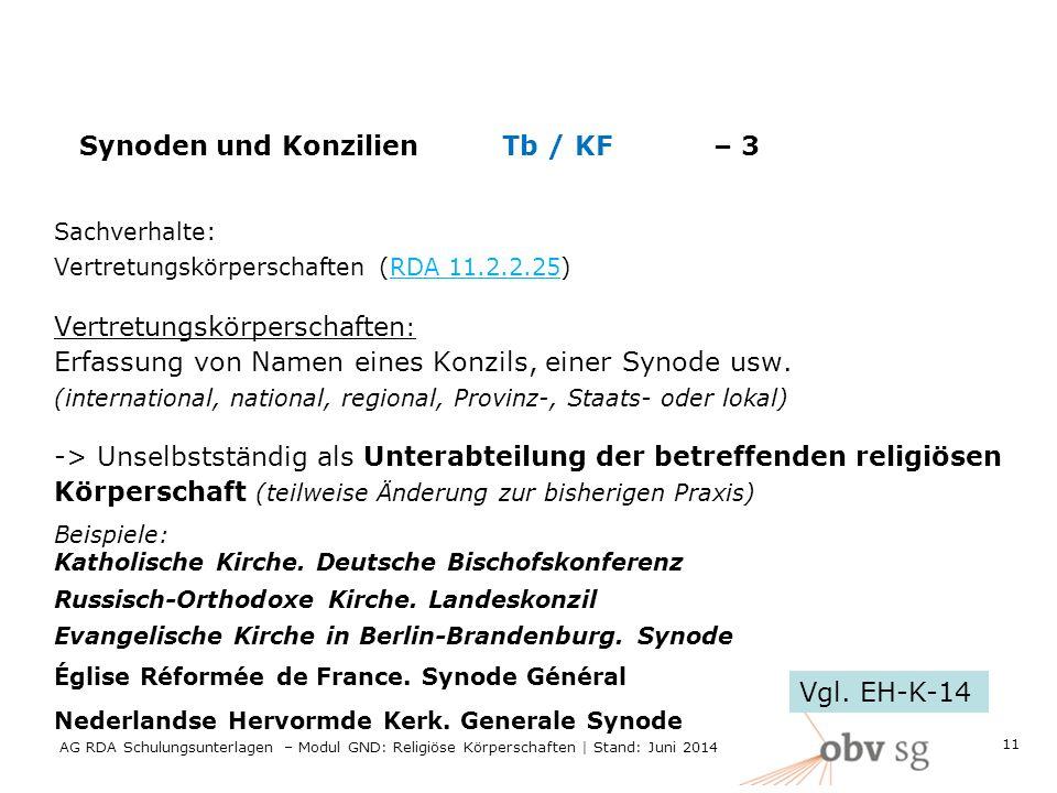 Synoden und Konzilien Tb / KF– 3 Sachverhalte: Vertretungskörperschaften (RDA 11.2.2.25) Vertretungskörperschaften : Erfassung von Namen eines Konzils, einer Synode usw.