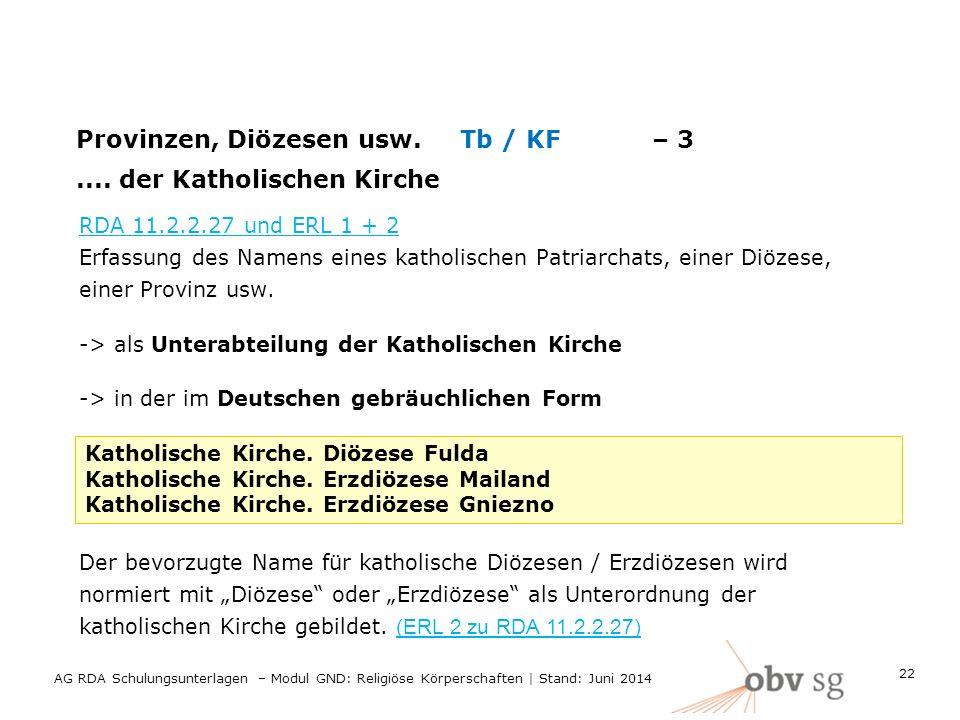 Provinzen, Diözesen usw.Tb / KF– 3....