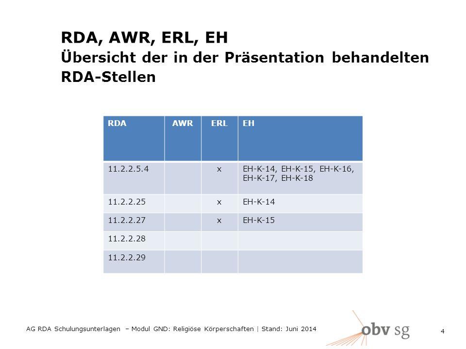 RDA, AWR, ERL, EH Übersicht der in der Präsentation behandelten RDA-Stellen RDAAWRERLEH 11.2.2.5.4xEH-K-14, EH-K-15, EH-K-16, EH-K-17, EH-K-18 11.2.2.25xEH-K-14 11.2.2.27xEH-K-15 11.2.2.28 11.2.2.29 4 AG RDA Schulungsunterlagen – Modul GND: Religiöse Körperschaften | Stand: Juni 2014