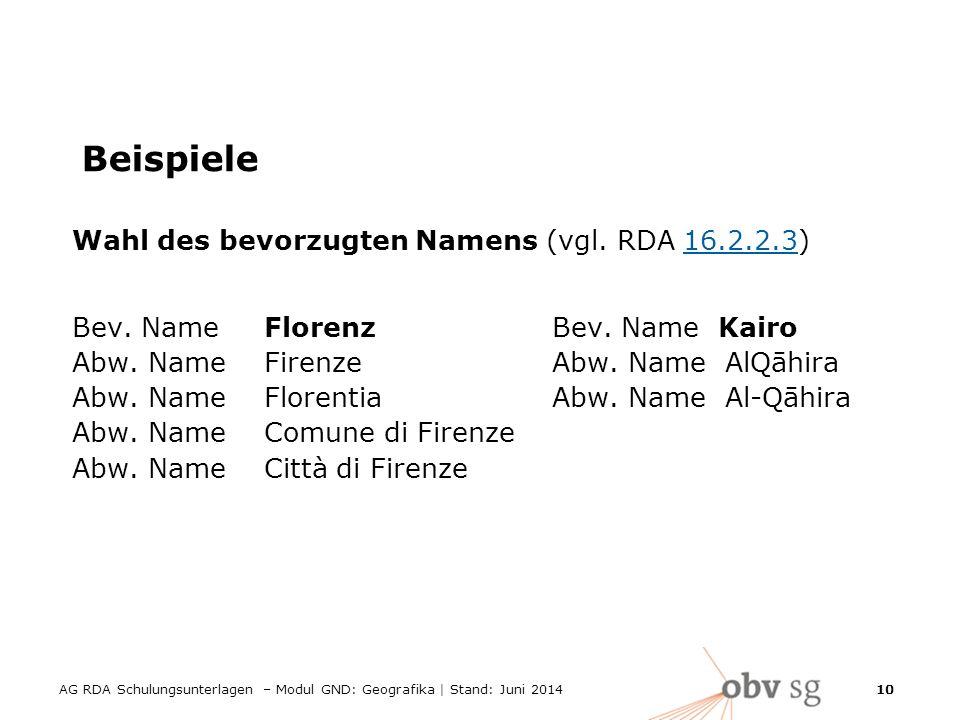10 Beispiele Wahl des bevorzugten Namens (vgl.RDA 16.2.2.3)16.2.2.3 Bev.
