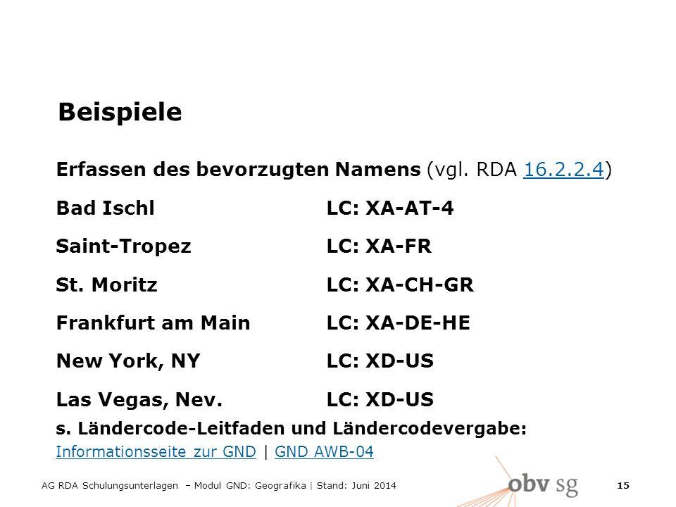 AG RDA Schulungsunterlagen – Modul GND: Geografika | Stand: Juni 2014 15 Beispiele Erfassen des bevorzugten Namens (vgl.