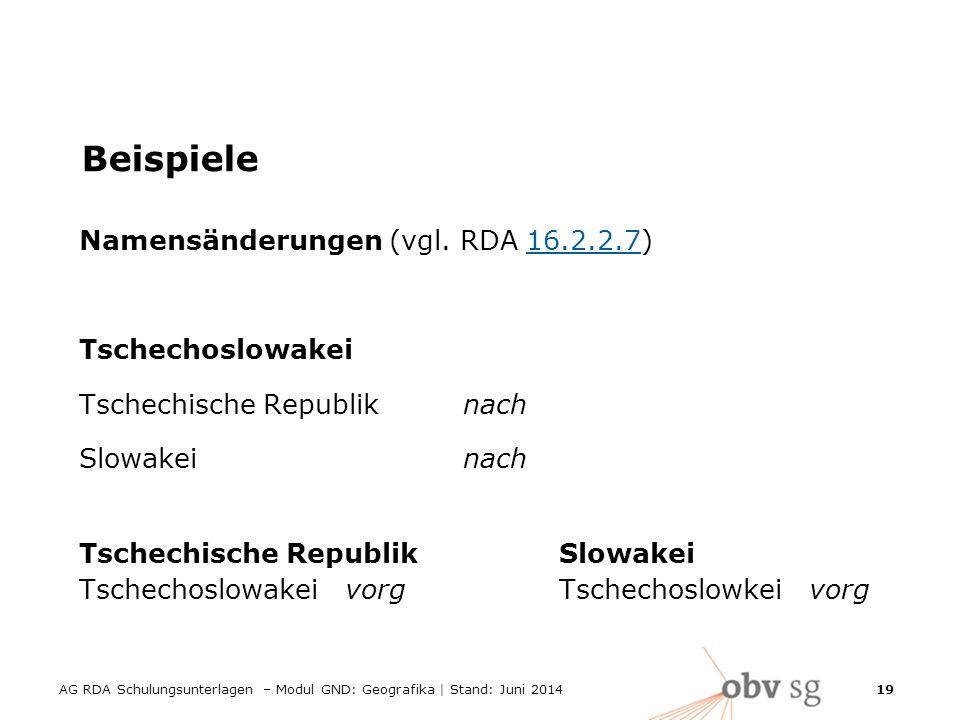 AG RDA Schulungsunterlagen – Modul GND: Geografika | Stand: Juni 2014 19 Beispiele Namensänderungen (vgl.