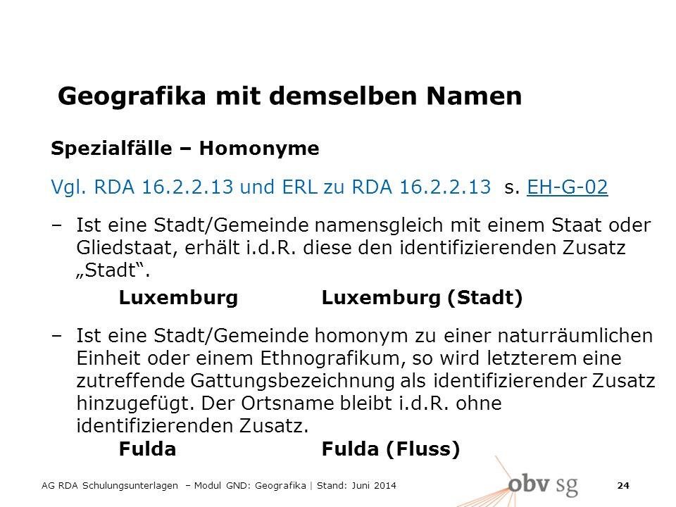 AG RDA Schulungsunterlagen – Modul GND: Geografika | Stand: Juni 2014 24 Geografika mit demselben Namen Spezialfälle – Homonyme Vgl.