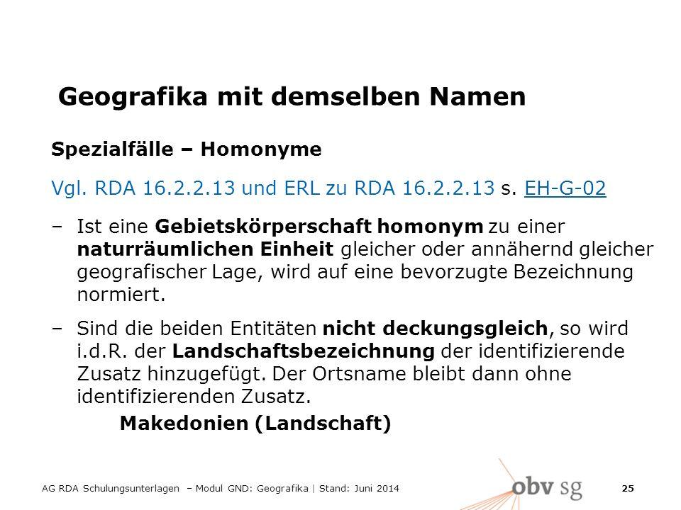AG RDA Schulungsunterlagen – Modul GND: Geografika | Stand: Juni 2014 25 Geografika mit demselben Namen Spezialfälle – Homonyme Vgl.