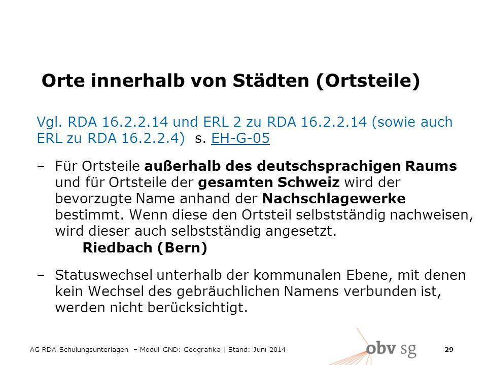 AG RDA Schulungsunterlagen – Modul GND: Geografika | Stand: Juni 2014 29 Orte innerhalb von Städten (Ortsteile) Vgl.