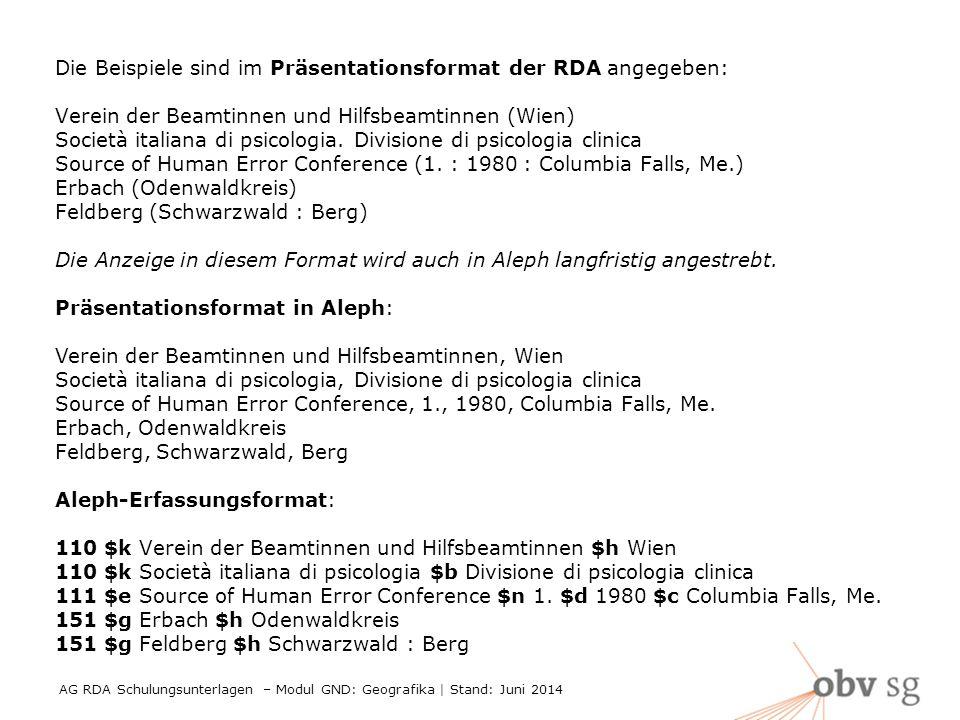 AG RDA Schulungsunterlagen – Modul GND: Geografika | Stand: Juni 2014 3 Die Beispiele sind im Präsentationsformat der RDA angegeben: Verein der Beamtinnen und Hilfsbeamtinnen (Wien) Società italiana di psicologia.