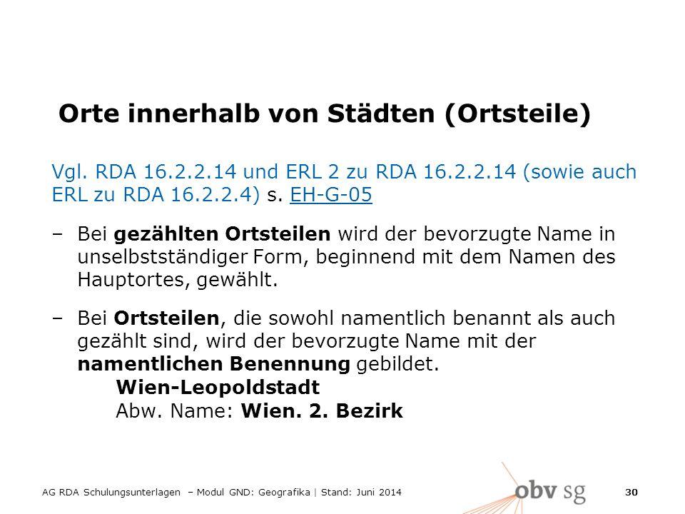 AG RDA Schulungsunterlagen – Modul GND: Geografika | Stand: Juni 2014 30 Orte innerhalb von Städten (Ortsteile) Vgl.