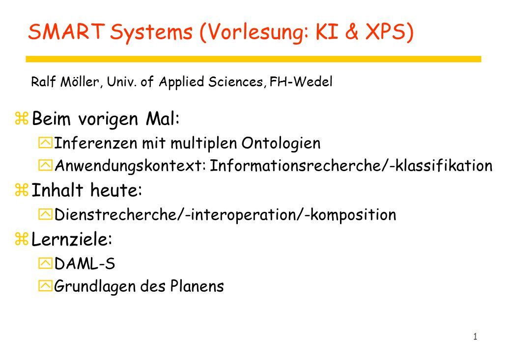1 SMART Systems (Vorlesung: KI & XPS) zBeim vorigen Mal: yInferenzen mit multiplen Ontologien yAnwendungskontext: Informationsrecherche/-klassifikation zInhalt heute: yDienstrecherche/-interoperation/-komposition zLernziele: yDAML-S yGrundlagen des Planens Ralf Möller, Univ.
