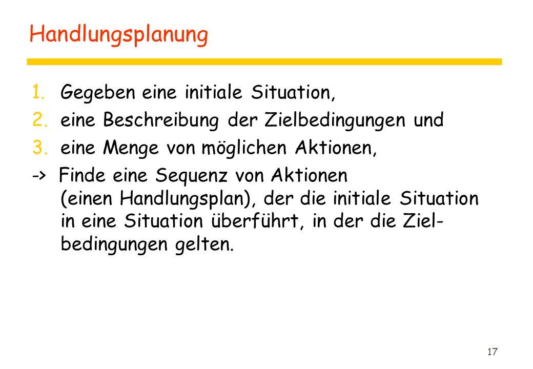 17 Handlungsplanung 1.Gegeben eine initiale Situation, 2.eine Beschreibung der Zielbedingungen und 3.eine Menge von möglichen Aktionen, -> Finde eine Sequenz von Aktionen (einen Handlungsplan), der die initiale Situation in eine Situation überführt, in der die Ziel- bedingungen gelten.