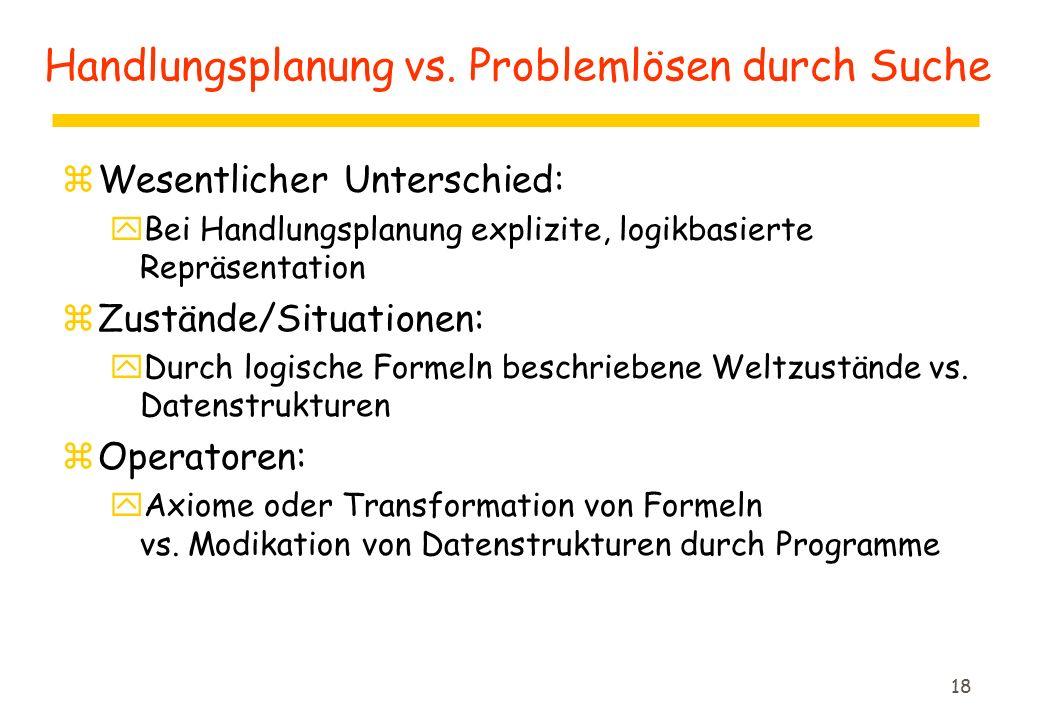 18 Handlungsplanung vs. Problemlösen durch Suche zWesentlicher Unterschied: yBei Handlungsplanung explizite, logikbasierte Repräsentation zZustände/Si