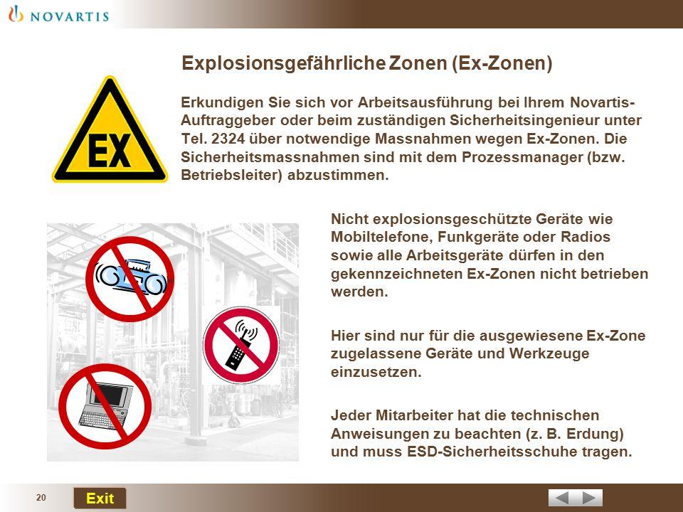 19 Exit Korrekte Arbeitskleidung Die korrekt getragene Arbeitskleidung schützt gegen Verletzungen und vermindert die möglichen Auswirkungen von chemis