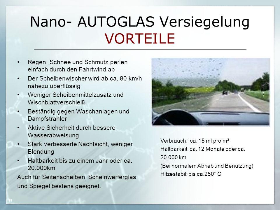 05.09.06 by Frank Matvos /2006 11 Nano- AUTOGLAS Versiegelung VORTEILE Regen, Schnee und Schmutz perlen einfach durch den Fahrtwind ab Der Scheibenwis