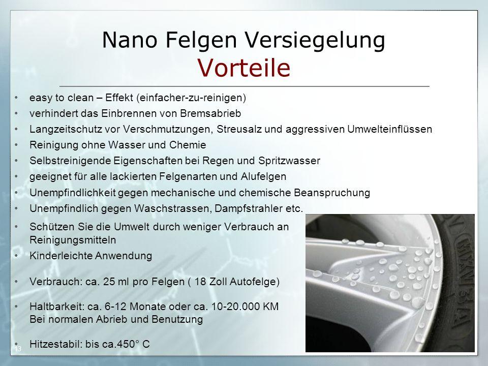05.09.06 by Frank Matvos /2006 13 Nano Felgen Versiegelung Vorteile easy to clean – Effekt (einfacher-zu-reinigen) verhindert das Einbrennen von Brems